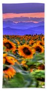 Sunsets And Sunflowers Beach Towel