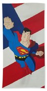 Superman And The Flag Beach Towel