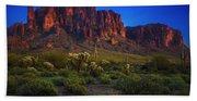Superstition Mountain Sunset Beach Towel