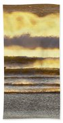 Surfer Faces Wind And Waves, Morro Bay, Ca Beach Towel