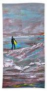Surfer On A Foggy Day Beach Towel