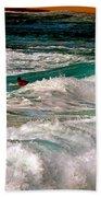 Surfer On Surf, Sunset Beach Beach Towel