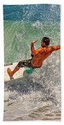 Surfing Action  Beach Towel