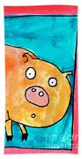 Surprised Pig Beach Towel