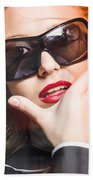 Surprised Young Woman Wearing Fashion Sunglasses Beach Towel
