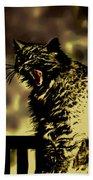 Surreal Cat Yawn Beach Sheet