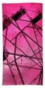 Surreal Fantasy Dark Pink Ferris Wheel Carnival Ride Starry Night - Pink Ferris Wheel Home Decor Beach Towel
