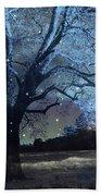 Surreal Fantasy Fairytale Blue Starry Trees Landscape - Fantasy Nature Trees Starlit Night Wall Art Beach Towel