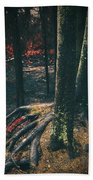 Surreal Red Leaves In A Dark Forest Finland Beach Towel