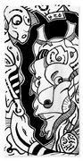 Surrealism Pagan Black And White Beach Towel
