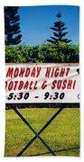 Sushi And Football In Hawaii Beach Towel