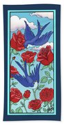 Swallows And Roses Beach Towel