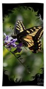 Swallowtail Butterfly 1 With Swirly Frame Beach Towel