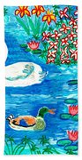Swan And Duck Beach Towel