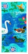 Swan And Two Ducks Beach Towel