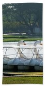Swan Boat In A Lake Beach Towel