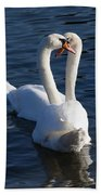 Swan Courtship  Beach Towel