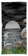 Swan Family Beach Towel
