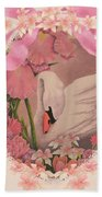 Swan In Pink Card Beach Towel