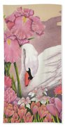 Swan In Pink Beach Towel