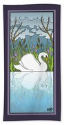 Swan On The River Beach Towel