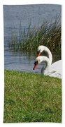 Swan Pair As Photographed Beach Towel