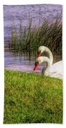 Swan Pair Warm Color Beach Towel