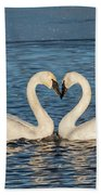 Swan Heart Beach Towel