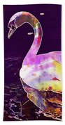 Swan Water Bird Water River  Beach Towel