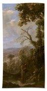 Swanevelt, Herman Van Woerden, 1603 - Paris, 1655 Landscape With Hermit Bound In Chains 1634 - 1639. Beach Towel