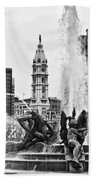 Swann Memorial Fountain In Black And White Beach Towel