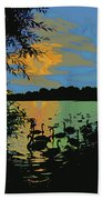 Swans At Sunset Beach Towel