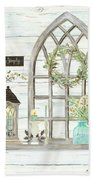 Sweet Life Farmhouse 3 Gothic Window Lantern Floral Shiplap Wood Beach Towel