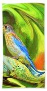 Swirling Bluebird Abstract Beach Towel