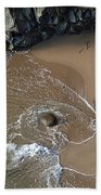 Swirling Surf And Rocks Beach Towel by Charlene Mitchell