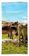 Happy Swiss Cows Beach Towel