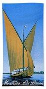 Switzerland, Lake Geneva, Montreux, Sailing Boat Beach Towel