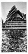 Sydney Opera House-black And White Beach Sheet