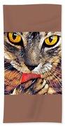 Tabby Cat Licking Paw Beach Towel