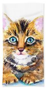Tabby Kitten Watercolor Beach Towel