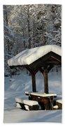Table By Cross Country Ski Tracks Beach Towel