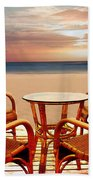 Table For Four At The Beach At Sunset Beach Towel