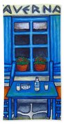 Table For Two In Greece Beach Towel by Lisa  Lorenz