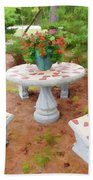 Table In The Garden Beach Towel