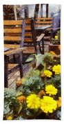 Tables And Chairs With Flowers Beach Towel