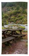 Tables By The River Beach Towel by Carlos Caetano