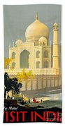 Taj Mahal Visit India Vintage Travel Poster Restored Beach Sheet