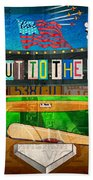 Take Me Out To The Ballgame Recycled Vintage License Plate Art Collage Beach Towel