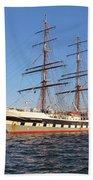 Tall Ship Anchored Off Penzance Beach Towel
