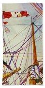Tall Ship Lines Beach Towel
